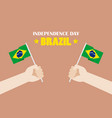 hands holding up brazil flags vector image