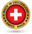 Made in Switzeland gold label vector image