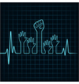 Heartbeat make helping and unity hand vector image vector image