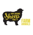 Black sheep animal circuit with product lettering vector image