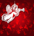 angel flies and plays the trumpet religious vector image