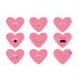 cute pink heart shape emoji set funny kawaii vector image