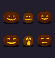 set of pumpkins on black background vector image