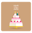 Wedding invitation in flat design with a cake vector image