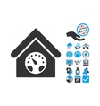 Meter Building Flat Icon With Bonus vector image
