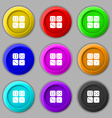 Dices icon sign symbol on nine round colourful vector image