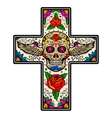 Cross with winged sugar skull isolated on white vector image
