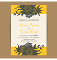 wedding invite yellow with dark grey flowers vector image vector image