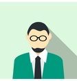 Man in glasses with a beard in a green suit icon vector image