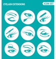 set of round icons white Eyelash extensions vector image