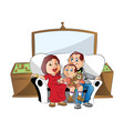 a family sitting on couch watching television vector image