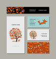business cards collection foxy tree design vector image