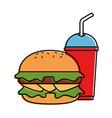 delicious burger with soda vector image