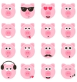 pig smiley faces set vector image