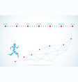 polygonal running man and text for startup concept vector image