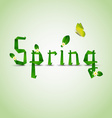 Spring card with folded letters leaves and flowers vector image