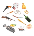 Crime And Money Related Set Of Objects vector image