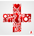 Plus symbol with AIDS icon vector image