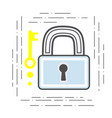 padlock and key modern flat line vector image