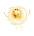 cute cartoon fried egg with smiley face funny vector image
