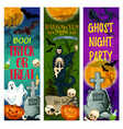 halloween ghost party banner of october holiday vector image vector image