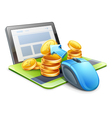 Mouse tablet coins vector image vector image
