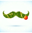 Green fir tree style Christmas mustaches vector image vector image