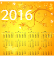 Floral yellow calendar vector image vector image