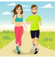 cheerful couple running outdoors vector image