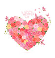 flower heart with flying butterflies lovely roses vector image