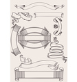 Old vintage scroll banners vector image