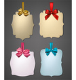 Paper gift cards with color satin bows vector image