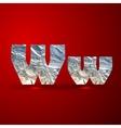set of aluminum or silver foil letters Letter W vector image