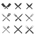 set of restaurant knives icons silhouette - vector image