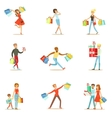 Shopaholic People Happy And Excited Running With vector image