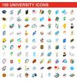 100 university icons set isometric 3d style vector image