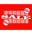 barcode with sale text and percent sign vector image