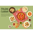 Delicious picnic dishes of italian cuisine icon vector image
