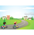 Kids and road vector image