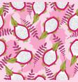 seamless tropical pattern with fresh sliced dragon vector image