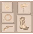 set of cowboy items vector image