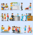 people in airport set vector image
