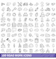 100 road work icons set outline style vector image