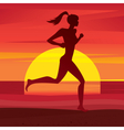 Girl trains at sunset vector image