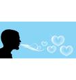 Blowing soap hearts vector image