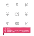 Currency symbol icon set vector image