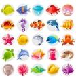 Cute cartoon icon set with underwater animals Sea vector image