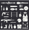 silhouette line flat military icon set vector image