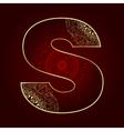 Vintage alphabet with floral swirls letter S vector image