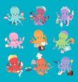octopus mollusk ocean coral reef animal character vector image